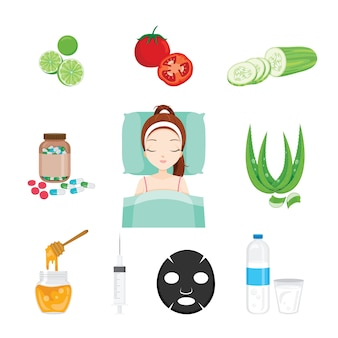 Health skin face and body objects set