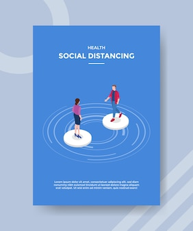 Health social distancing men and women standing keep distance for template flyer