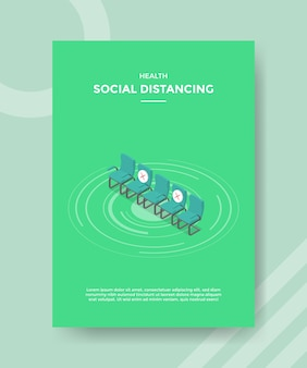 Health social distancing row chairs with cross sign for template flyer and print banner cover isometric