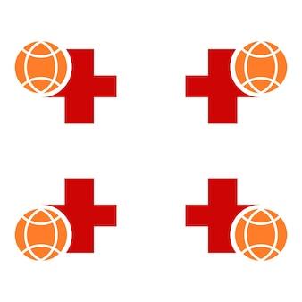 地球儀のイラストデザインの健康シンボル。パンデミックウイルス対策の図。白い背景に