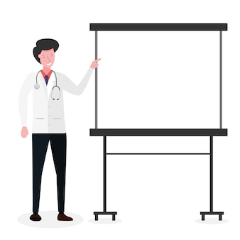 The health template of a doctor explaining health