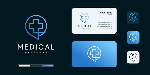Health template with message symbols plus linear style. clinic logotype concept icon.