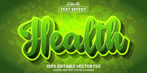 Health text, font style editable text effect