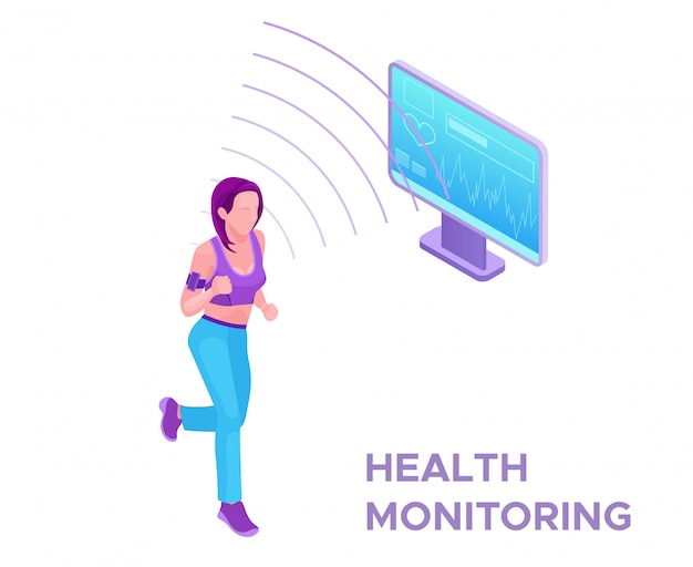 Health tracker on running woman
