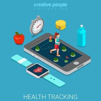 健康追跡フラットアイソメトリック健康的なライフスタイル
