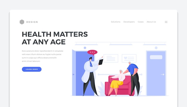 Health value at any age landing page template. elderly male and female characters listen advice of doctor in white coat. mandatory medical examination for health prevention vector banner.