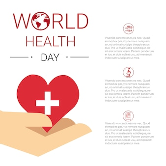 Health world day global holiday banner with copy space