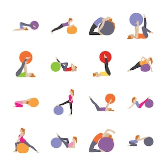 Здравоохранение и фитнес упражнения плоские иконки