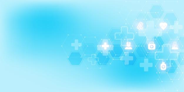Здравоохранение и медицинское образование с плоскими значками и символами.