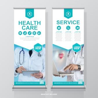 Здравоохранение и медицинский дизайн сворачивания и шаблон баннера standee