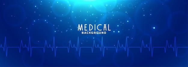 ヘルスケアと医学の青いバナー