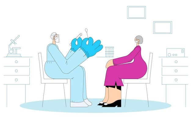Covid-19発生コンセプト中のヘルスケアと医療検査。
