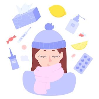 Концепция здравоохранения и лечения. больная женщина-персонаж окружена аптечным препаратом. таблетка медицины для лечения болезней. сезонная очистка дымоходов. иллюстрация