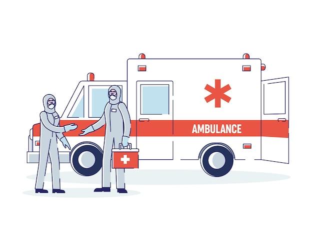 Врачи концепции здравоохранения и медицины в защитных комбинезонах
