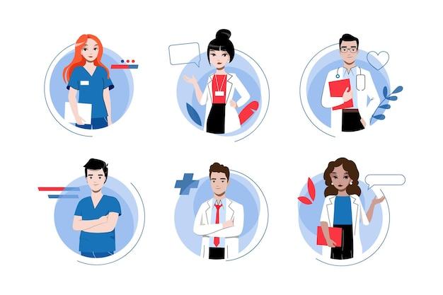 의료 및 의학 개념. 균일 한 남성과 여성 아이콘 세트에서 의사의 팀. 의료진은 환자와 상담하고 치료할 준비가되어 있습니다. 만화 선형 개요 플랫 스타일. 벡터 일러스트 레이 션.