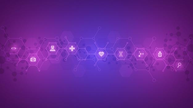 Концепция здравоохранения и технологии с плоскими значками и символами. дизайн шаблона для бизнеса в области здравоохранения, инновационной медицины, научного фона, медицинских исследований.