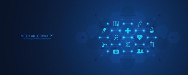 평면 아이콘 및 기호 의료 및 기술 개념