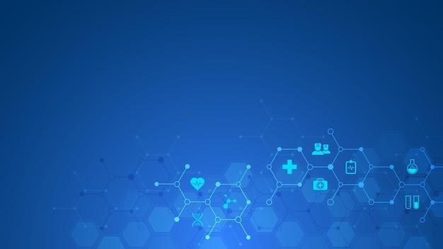 평면 아이콘 및 기호가 있는 의료 및 기술 개념
