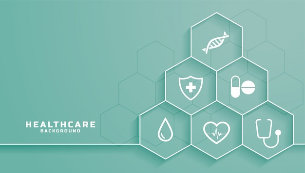 Healthcare background with medical symbols in hexagonal frame