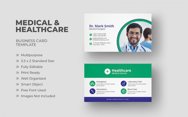 Healthcare business card template