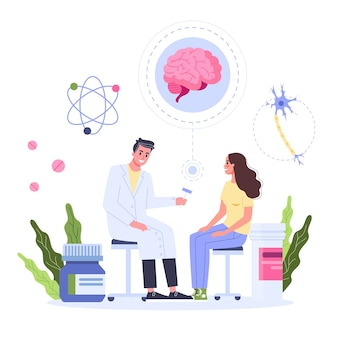 Healthcare concept, idea of doctor caring about patient health. female patient on a consultation with neurologist. medical treatment and recovery.  illustration