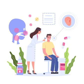 Healthcare concept, idea of doctor caring about patient health. male patient on a consultation with otorhinolaryngologist. medical treatment and recovery.  illustration