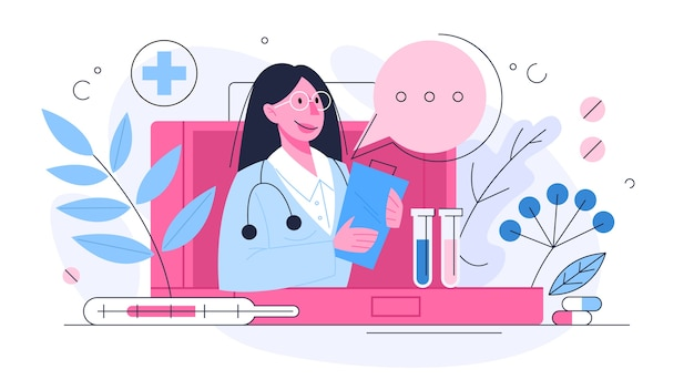Healthcare concept, idea of doctor caring about patient health. medical treatment and recovery.  illustration