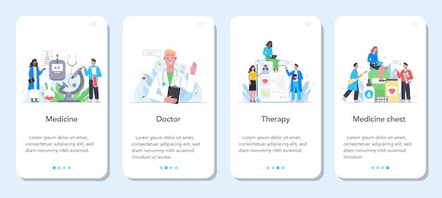 ヘルスケアコンセプトモバイルアプリケーションバナーセット。制服の専門医。現代医学の治療、専門知識、診断。治療と回復。