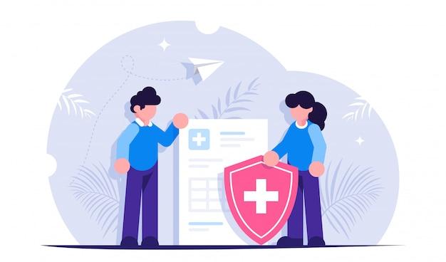ヘルスケアの概念。人々は医療文書と盾の背景に立っています。健康保険
