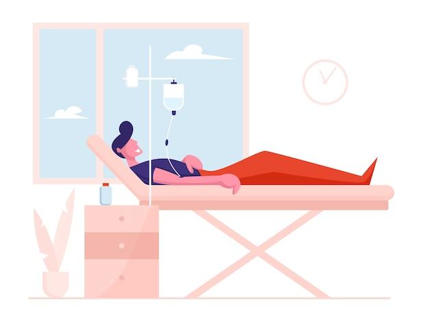 건강 관리 개념. dropper와 의료 침대에 누워 아픈 부상 환자.