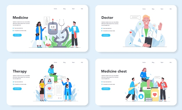 Healthcare concept web banner or landing page set. medical specialist in the uniform. modern medicine treatment, expertize, diagnostic. medical treatment and recovery.