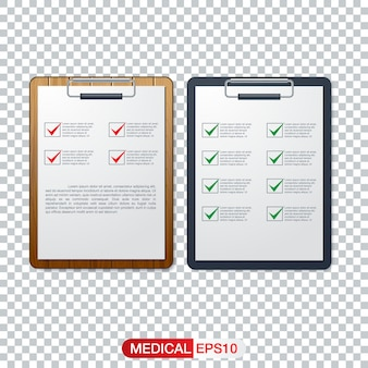 Healthcare concept with cool check list on clipboard