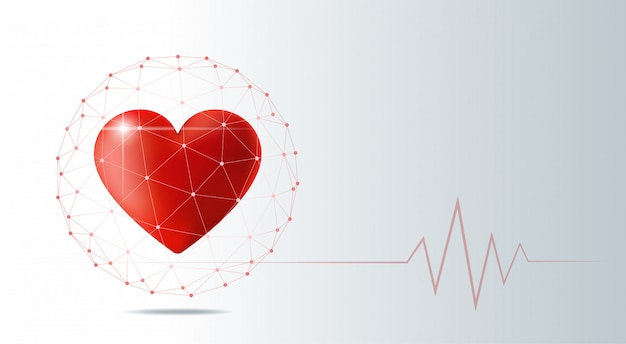 Healthcare concept with red heart protected in polygonal sphere shield