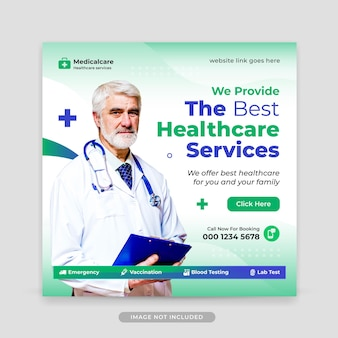 Healthcare editable social media post and web banner template
