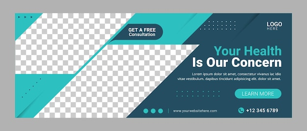Healthcare facebook cover template banner for advertisement