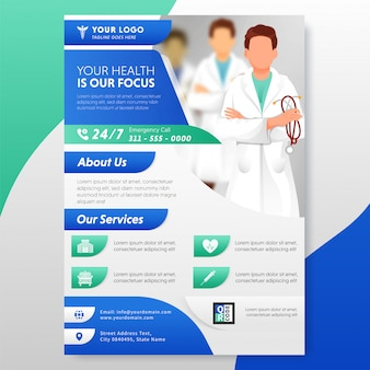 Healthcare flyer or template design with given service for publishing.