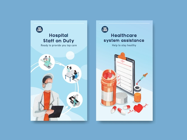 Healthcare instagram template design with medical equipment and medical staff and highly technological devices doctors and patients