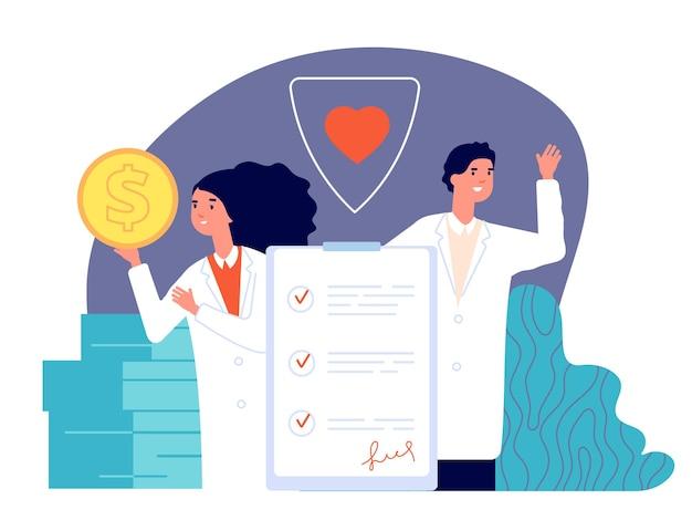Страхование здоровья. полис здоровья, медицинская охрана за деньги. врачи больницы, жизнь защищают бизнес-план векторные иллюстрации. страхование медицинское, защита документов и охрана здоровья