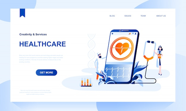 Healthcare landing page template with header