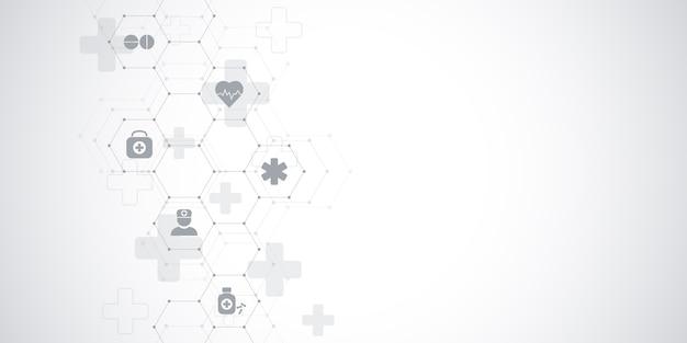 Здравоохранение медицинское и наука фон с иконами и символами. инновационные технологии.