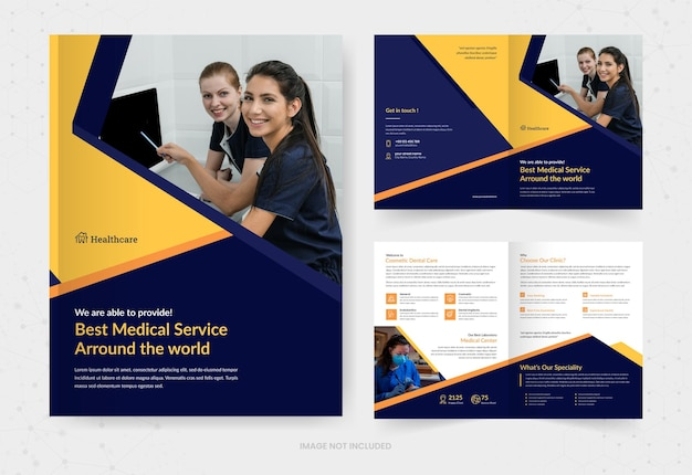 Healthcare and medical bifold brochure template