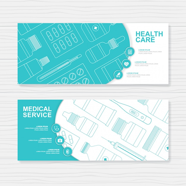Healthcare and medical bottles set medicine banner template