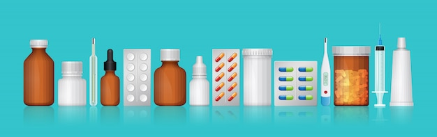 Healthcare and medical bottles set medicine and pills
