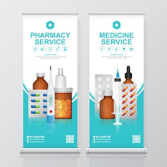 Healthcare and medical bottles set medicine roll up, pharmacy standee template