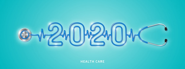 Healthcare and medical concept stethoscope checkup for year 2020