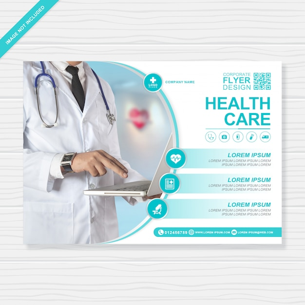 Healthcare and medical cover a4 flyer design template for printing