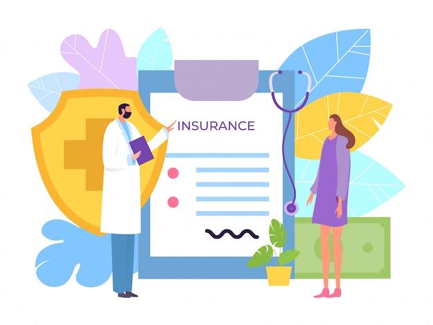 Концепция медицинского страхования здравоохранения, иллюстрация. девочка-пациентка заключает договор с личным лечащим врачом.