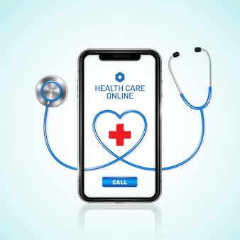 Healthcare and medical online phone and stethoscope