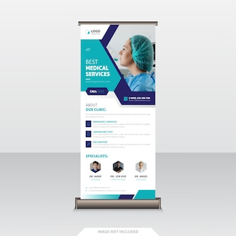 Healthcare and medical roll up banner design