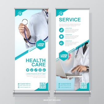Healthcare and medical roll up design and standee banner template for exhibition